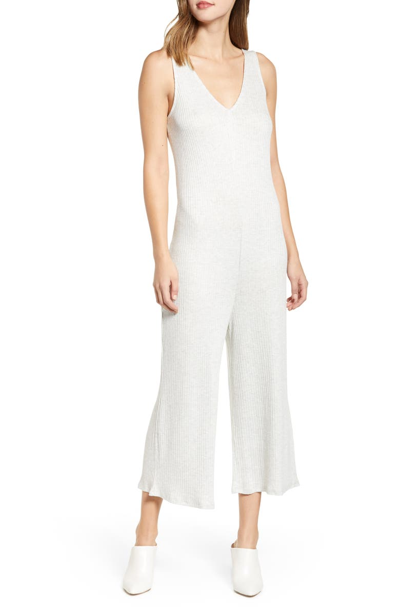 LOVE, FIRE Ribbed Wide Leg Crop Jumpsuit, Main, color, LIGHT OATMEAL