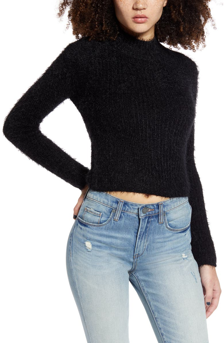 LOVE BY DESIGN Mock Neck Crop Sweater, Main, color, BLACK