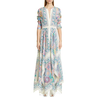 Altuzarra Scarf Print Long Sleeve Silk Maxi Dress, Ivory