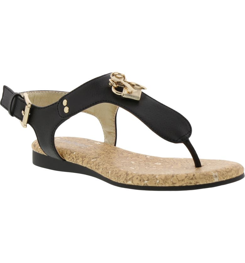 MICHAEL MICHAEL KORS Tilly Cora Charm T-Strap Sandal, Main, color, BLACK