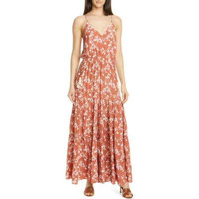 Dolan Anna Floral Tiered Maxi Sundress, Red