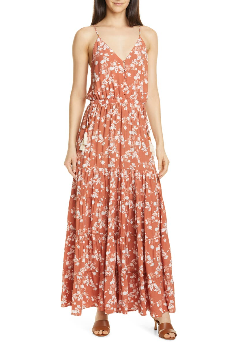 DOLAN Anna Floral Tiered Maxi Sundress, Main, color, CLAY BLOSSOM FLORAL
