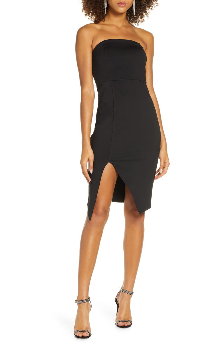LULUS Strapless Cocktail Sheath Dress, Main, color, BLACK