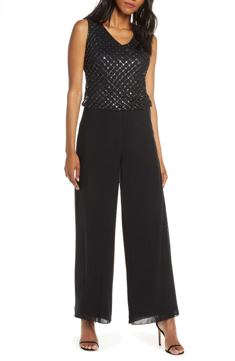 PISARRO NIGHTS V-Neck Beaded Mock Two-Piece Jumpsuit, Main, color, BLACK