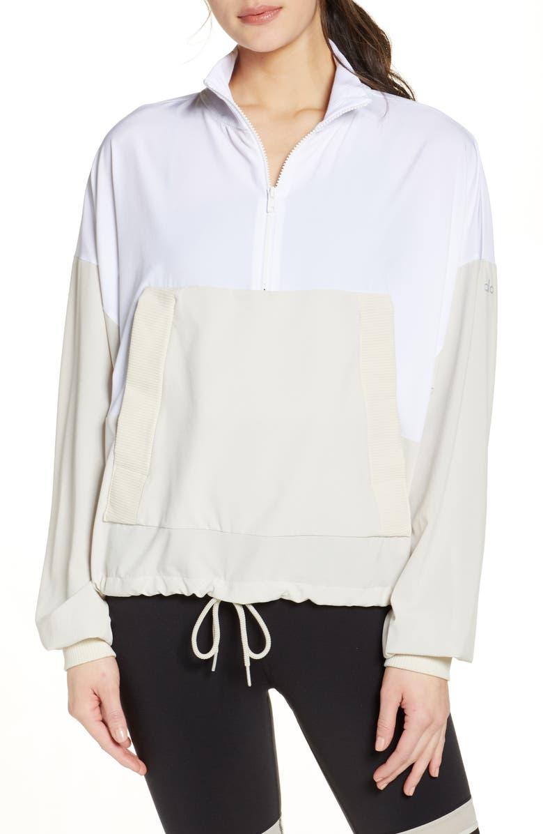 ALO City Girl Quarter Zip Pullover, Main, color, WHITE/ BONE