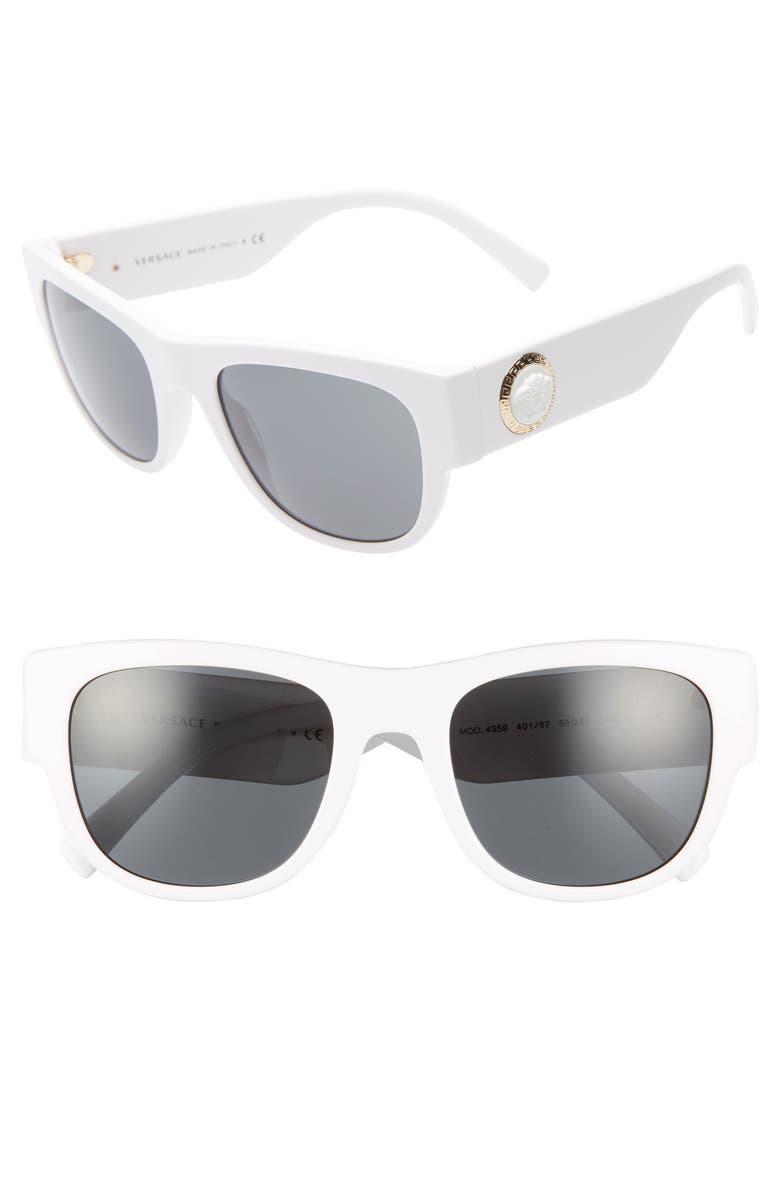 VERSACE 55mm Sunglasses, Main, color, WHITE