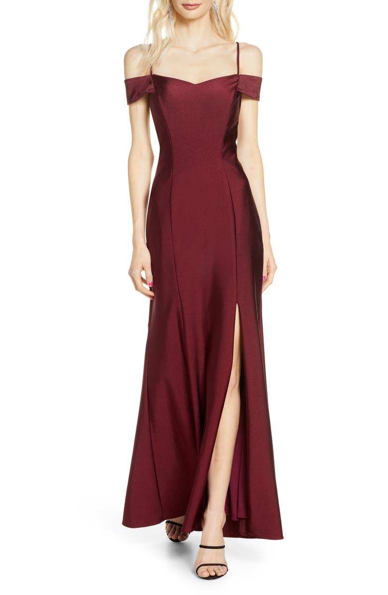 MORGAN & CO. Cold Shoulder Sateen Gown, Main, color, 930