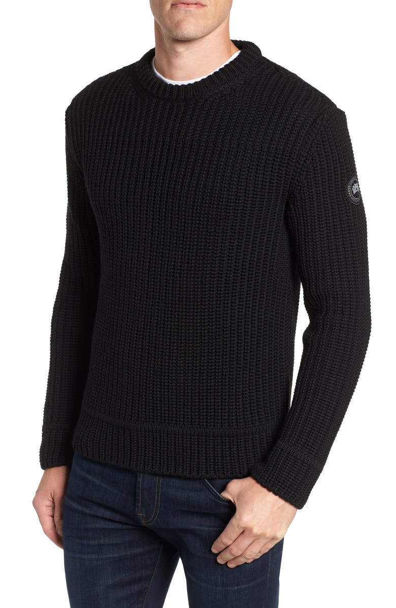 CANADA GOOSE Galloway Regular Fit Merino Wool Sweater, Main, color, 001