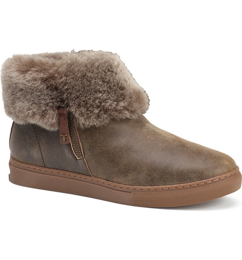 TRASK Lexi Genuine Shearling Sneaker, Main, color, BROWN/ BROWN LEATHER