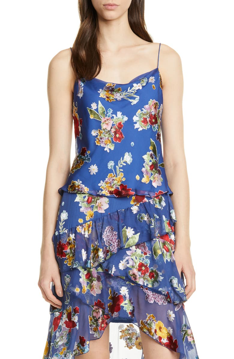 ALICE + OLIVIA Harmon Floral Drapey Camisole, Main, color, COLORFUL BOUQUET RIVIERA
