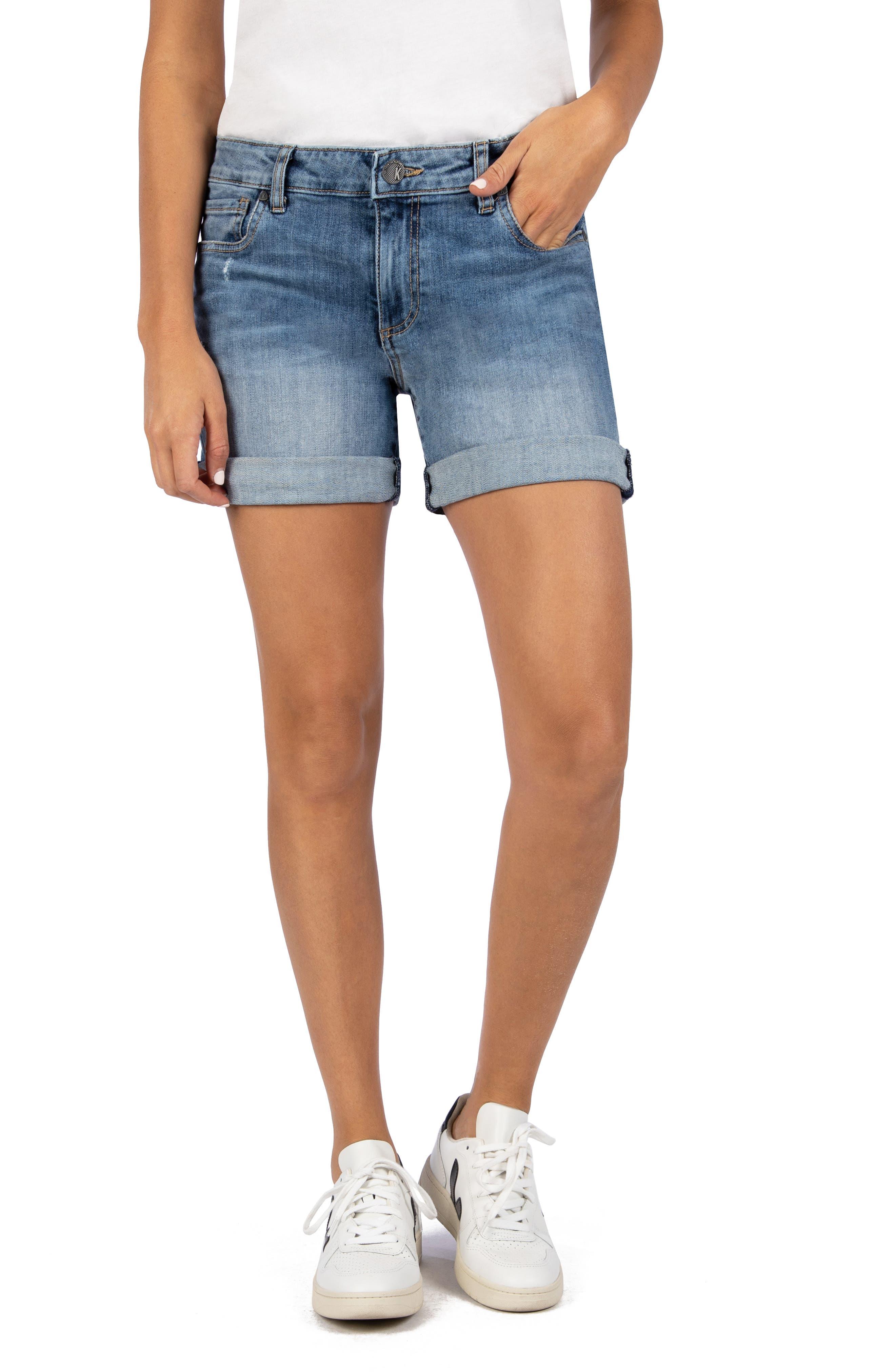 Women's Kut From The Kloth Chloe Boyfriend Roll-Up Denim Shorts