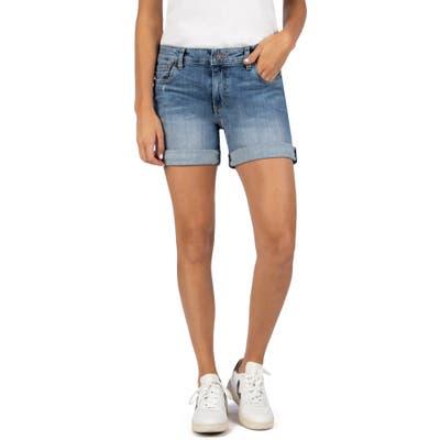 Kut From The Kloth Chloe Boyfriend Roll-Up Denim Shorts, Blue