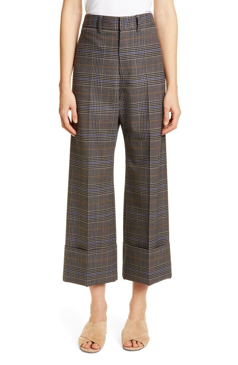 SEA Rowan Plaid Cuff Pants, Main, color, TAUPE MULTI