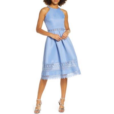 Chi Chi London Naila Halter Neck Satin & Lace Cocktail Dress, Blue