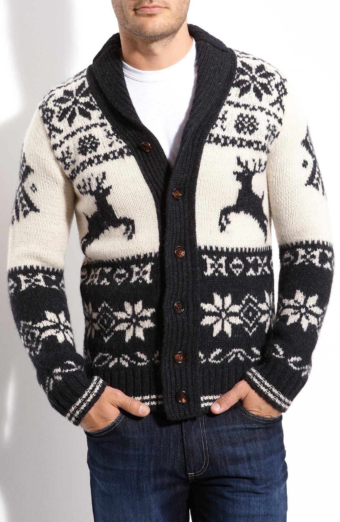 ,                             Shawl Collar Reindeer Cardigan,                             Main thumbnail 1, color,                             030