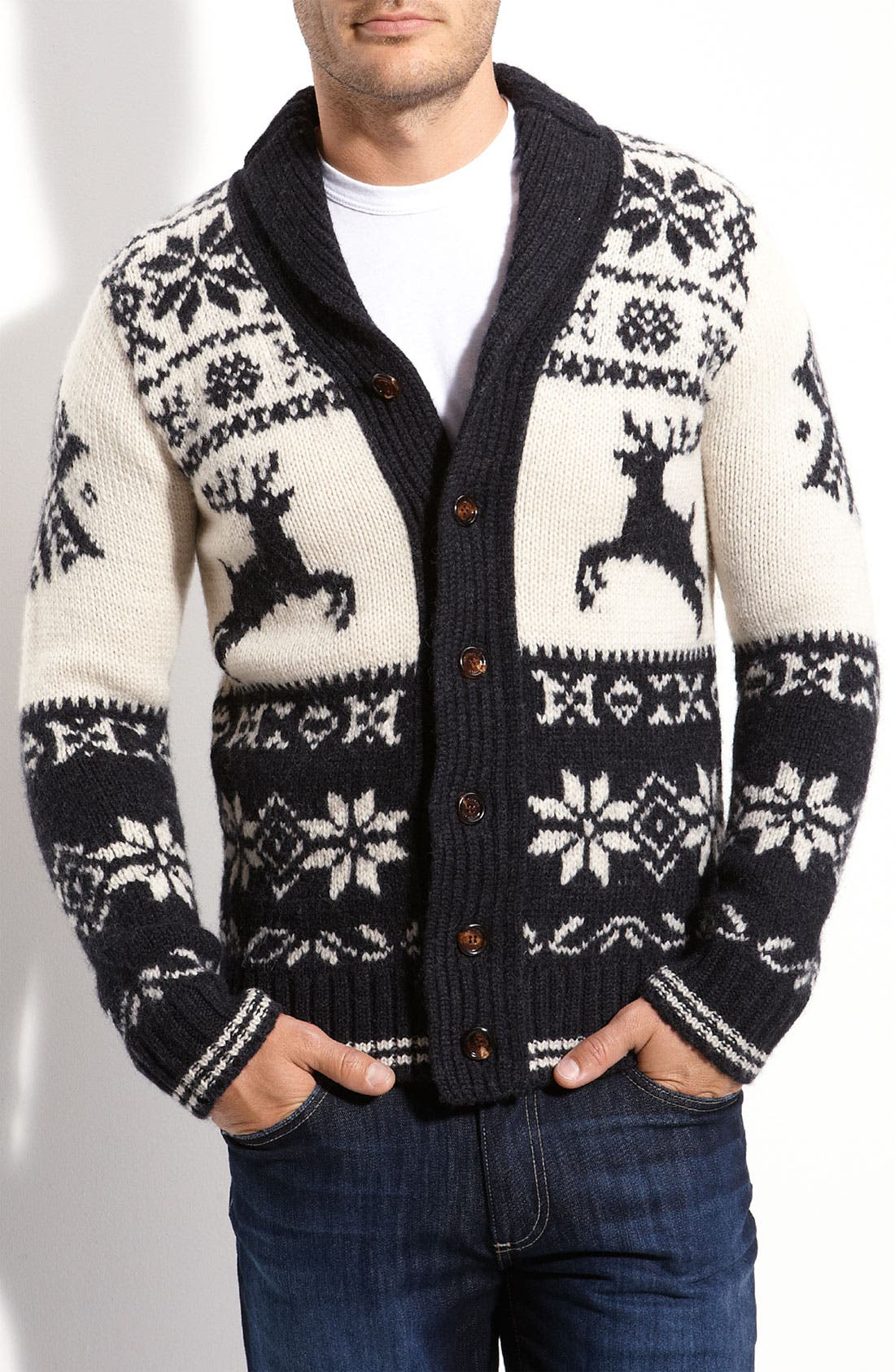 Shawl Collar Reindeer Cardigan, Main, color, 030