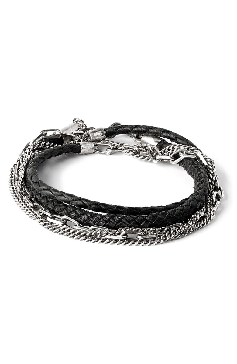 TITLE OF WORK Braided Leather & Chain Multi Wrap Bracelet, Main, color, BLACK/SILVER