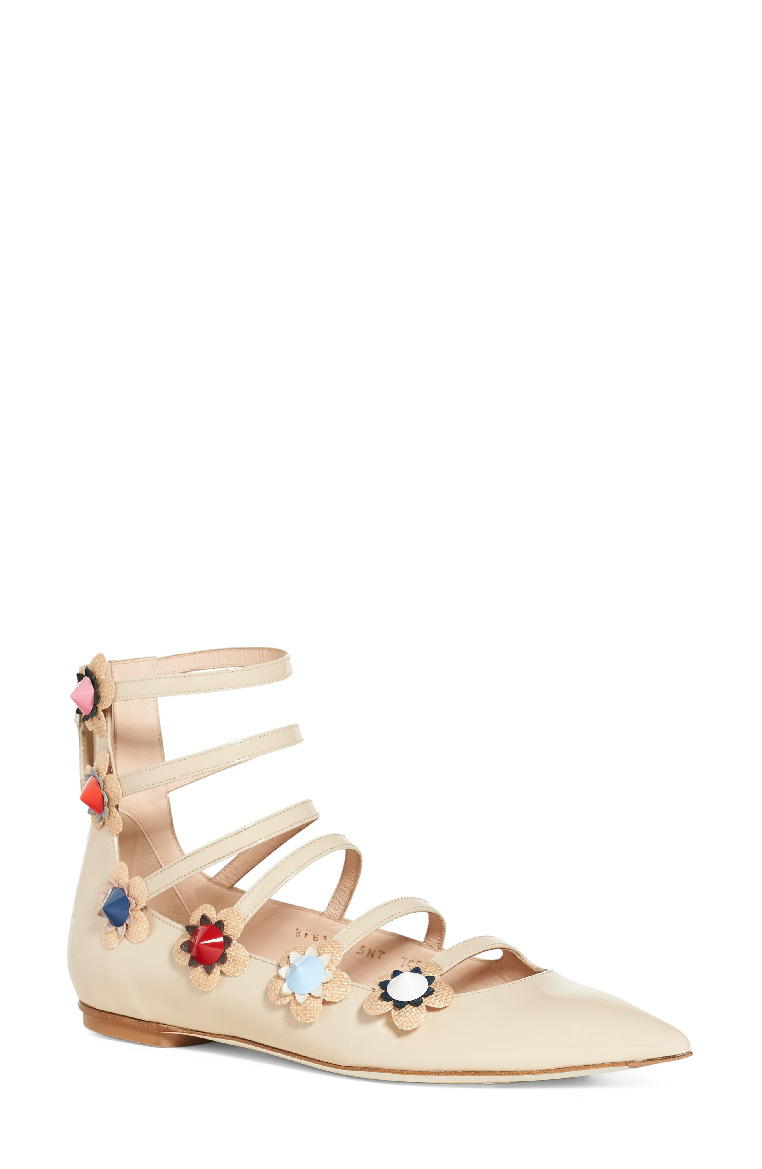 'Flowerland' Strappy Flat, Main, color, 250