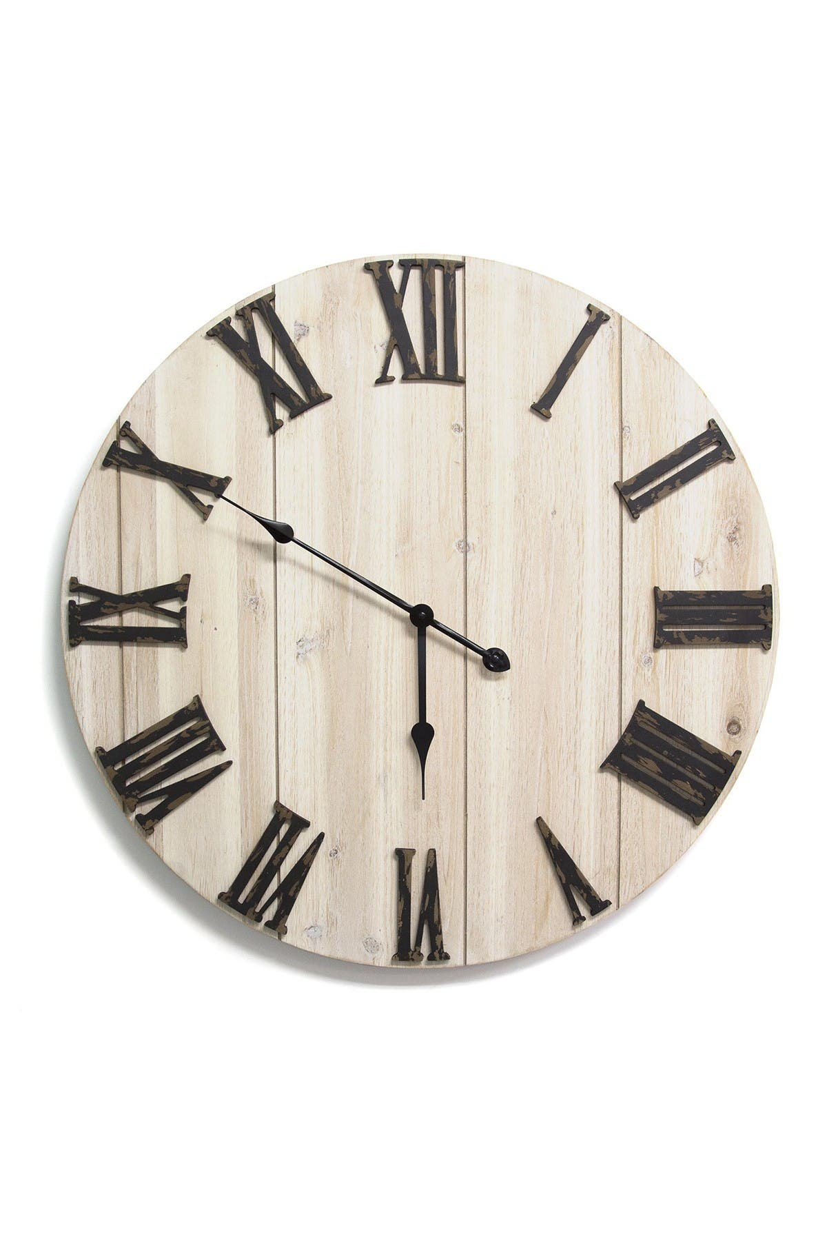 Image of Stratton Home Antique Bronze/Distressed Whitewashed Wood Wall Clock