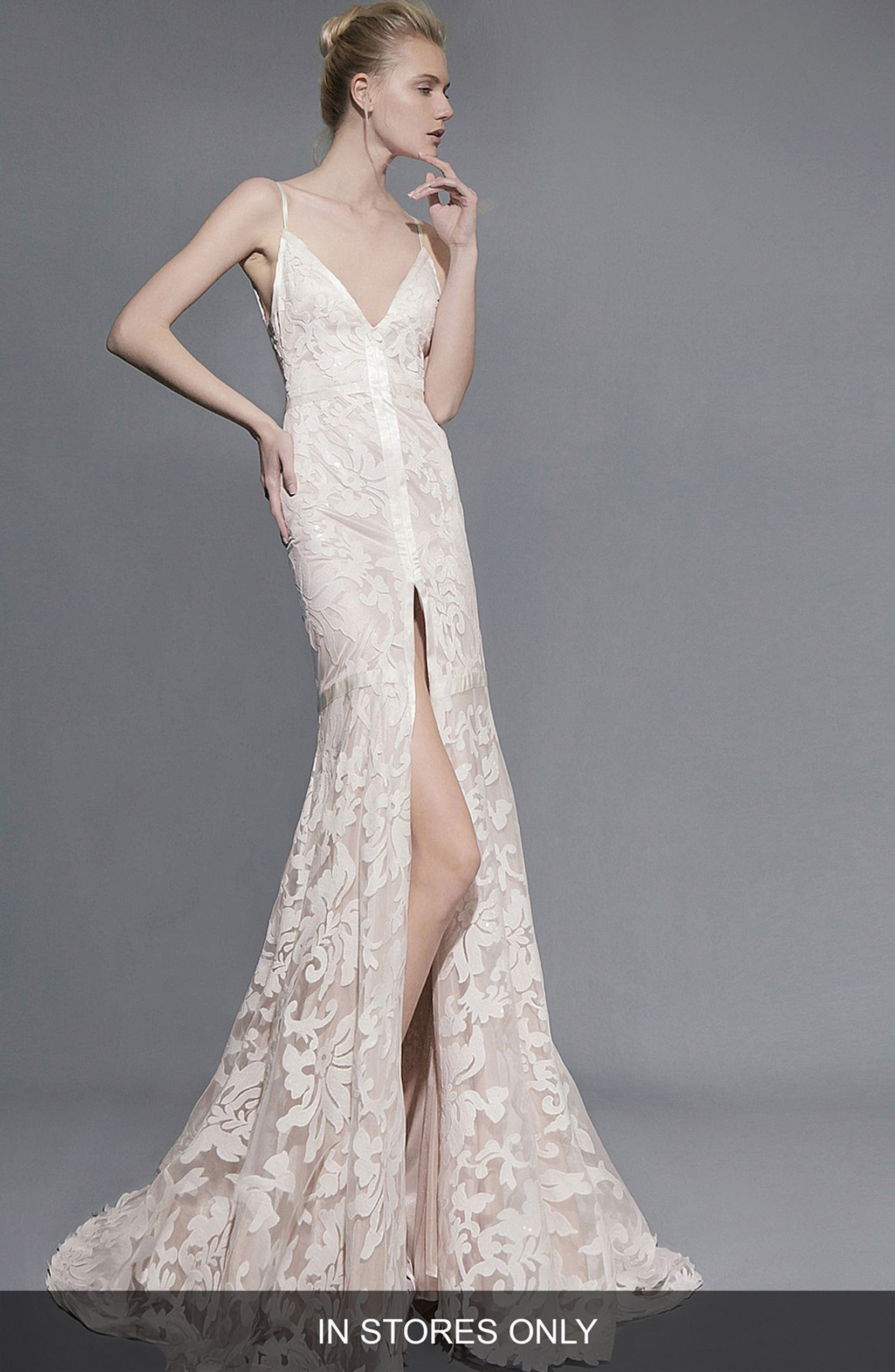 63b944ef937 Victoria Kyriakides Aria Front Slit Lace Trumpet Gown