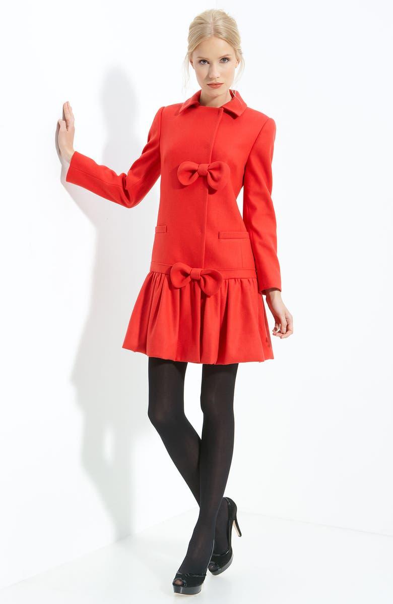 RED VALENTINO Ruffle Hem Wool Coat, Main, color, 600
