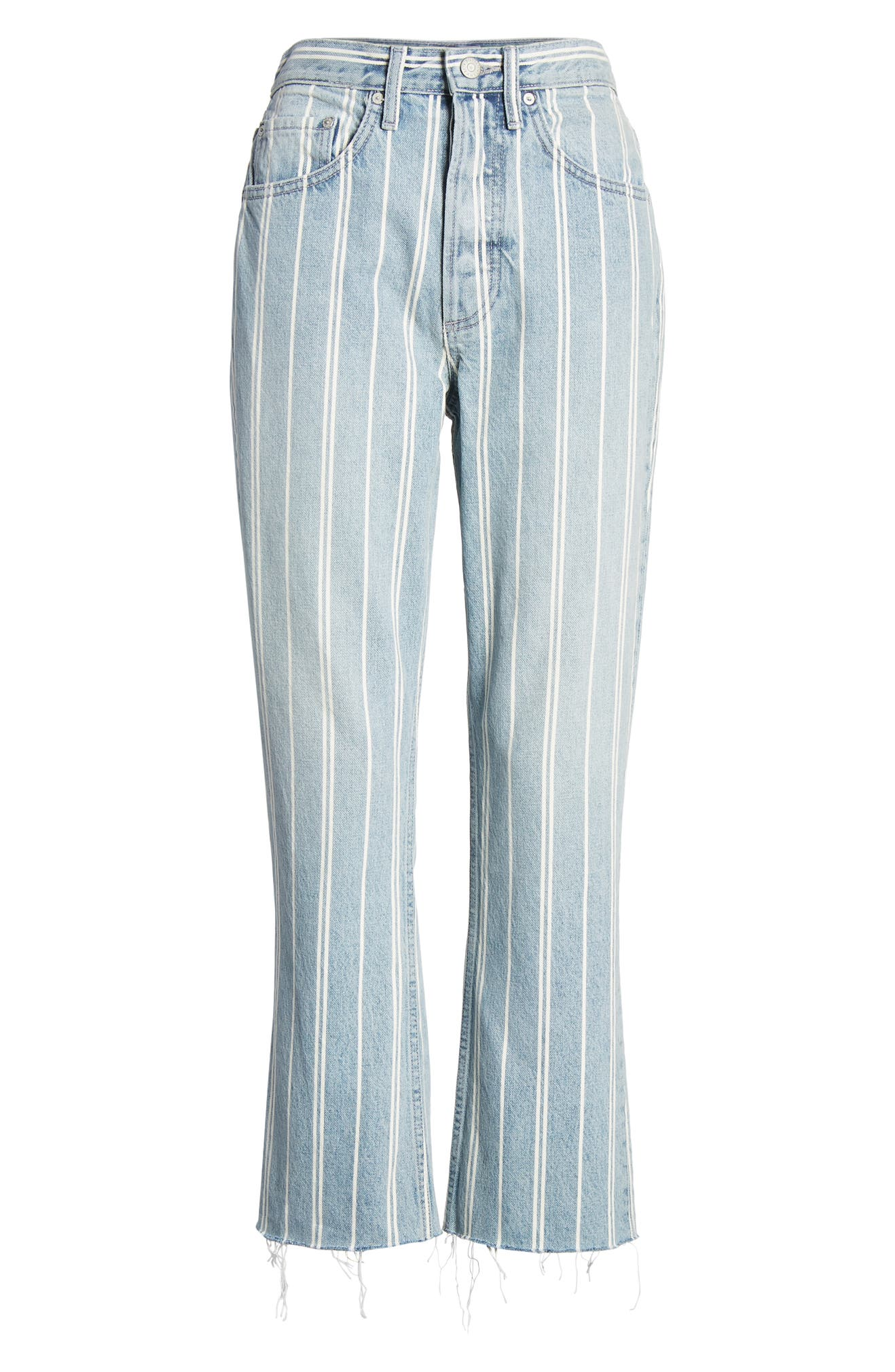 The Darcy Stripe Super High Waist Crop Flare Jeans