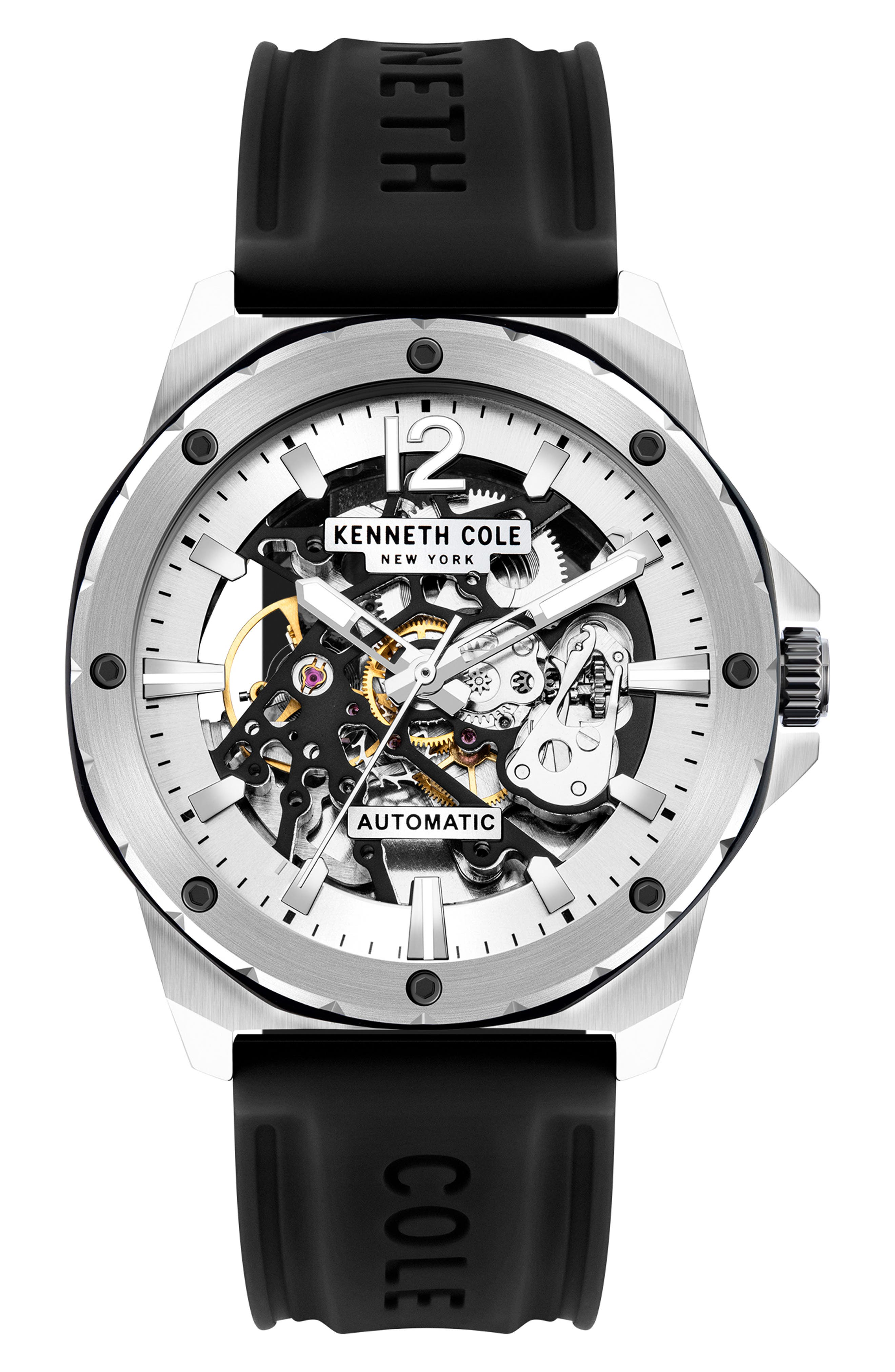 Skeletal Automatic Silicone Strap Watch