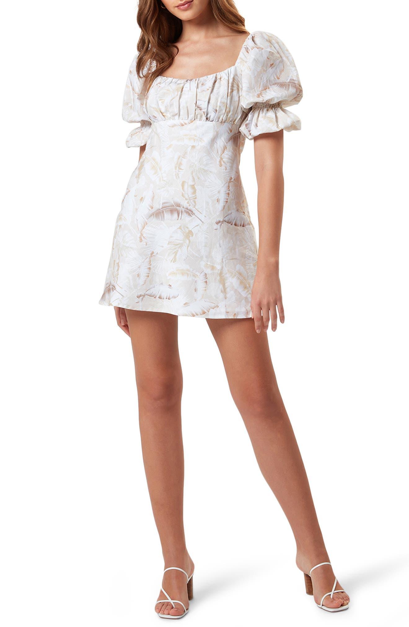Lottie Palm Print Short Sleeve Linen & Cotton Dress