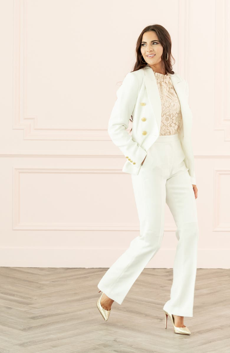 RACHEL PARCELL Fitted Blazer, Main, color, IVORY CLOUD