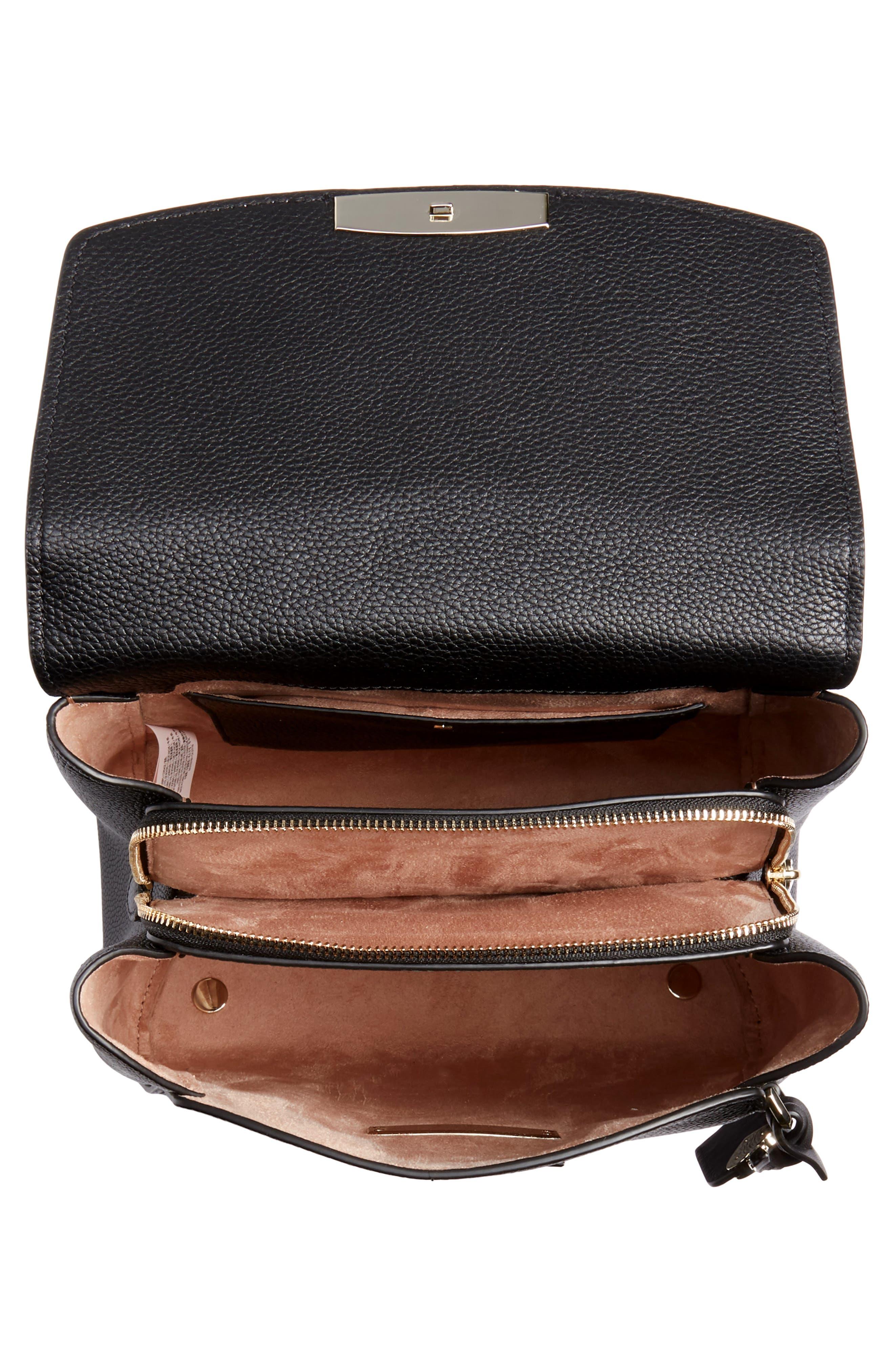 ,                             medium grace leather backpack,                             Alternate thumbnail 5, color,                             BLACK