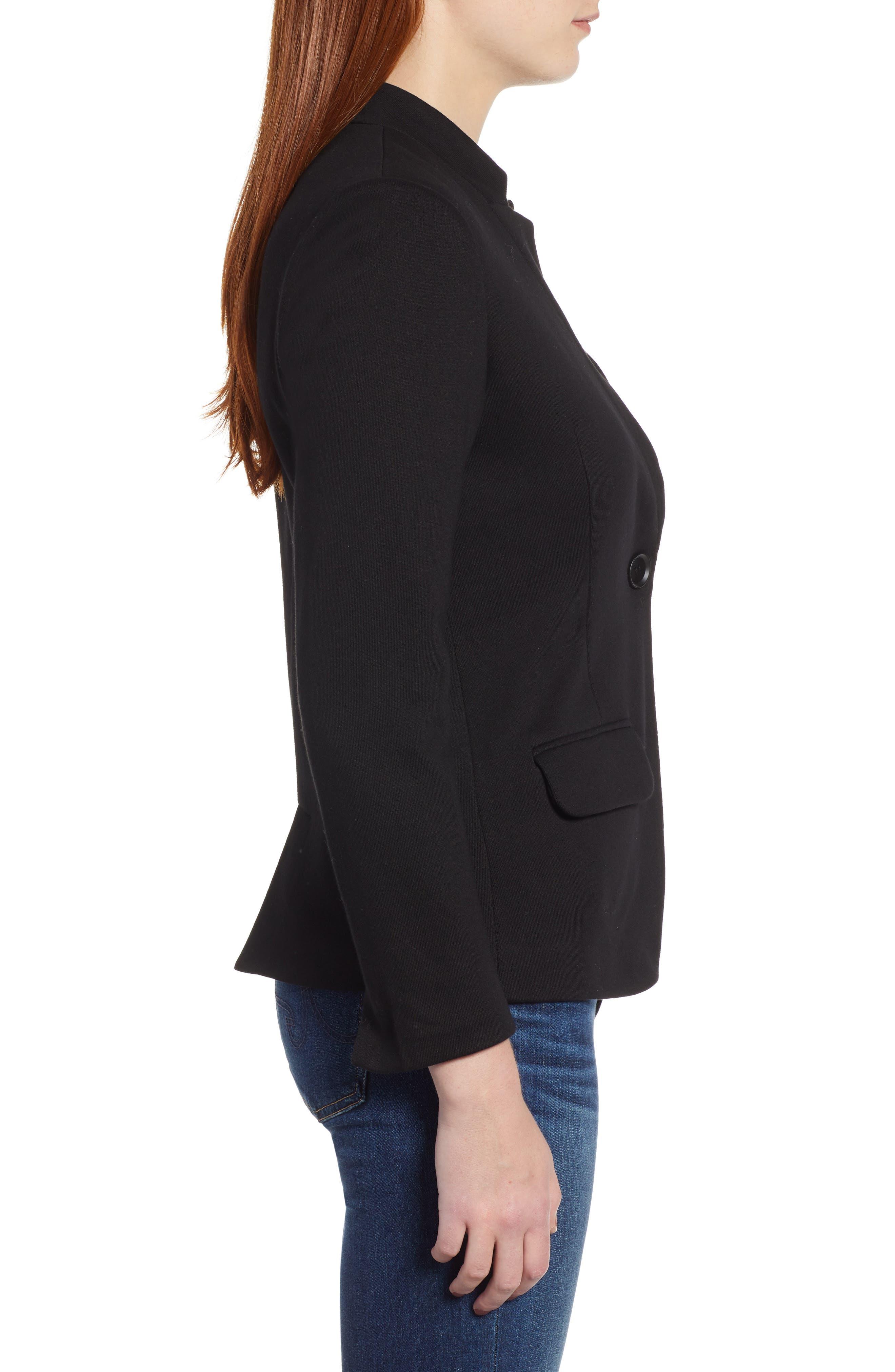 ,                             Notch Collar Cotton Blend Blazer,                             Alternate thumbnail 4, color,                             BLACK