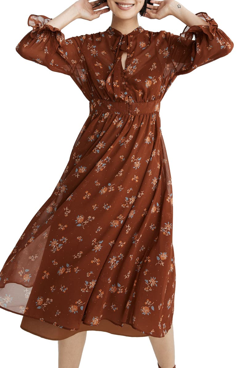 MADEWELL Forest Floral Tie Neck Georgette Midi Dress, Main, color, CORD FLORAL MAPLE SYRUP
