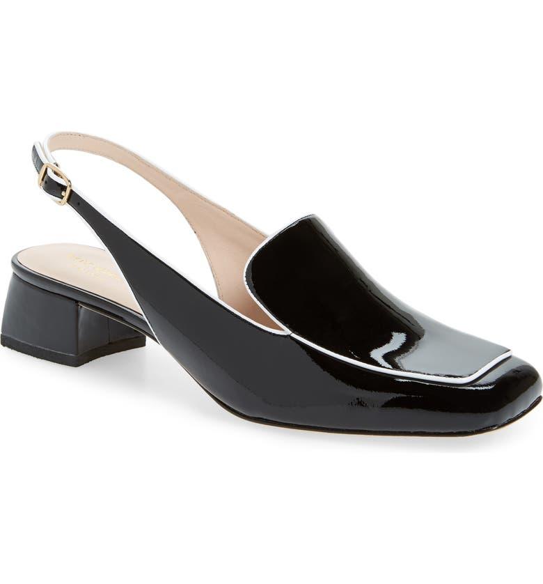 KATE SPADE NEW YORK sahiba slingback loafer, Main, color, BLACK/ WHITE