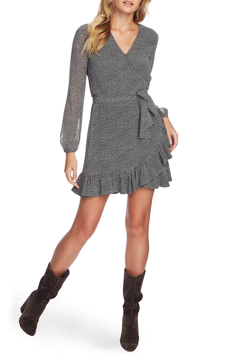 1.STATE Long Sleeve Ruffle Hem Wrap Dress, Main, color, RICH BLACK