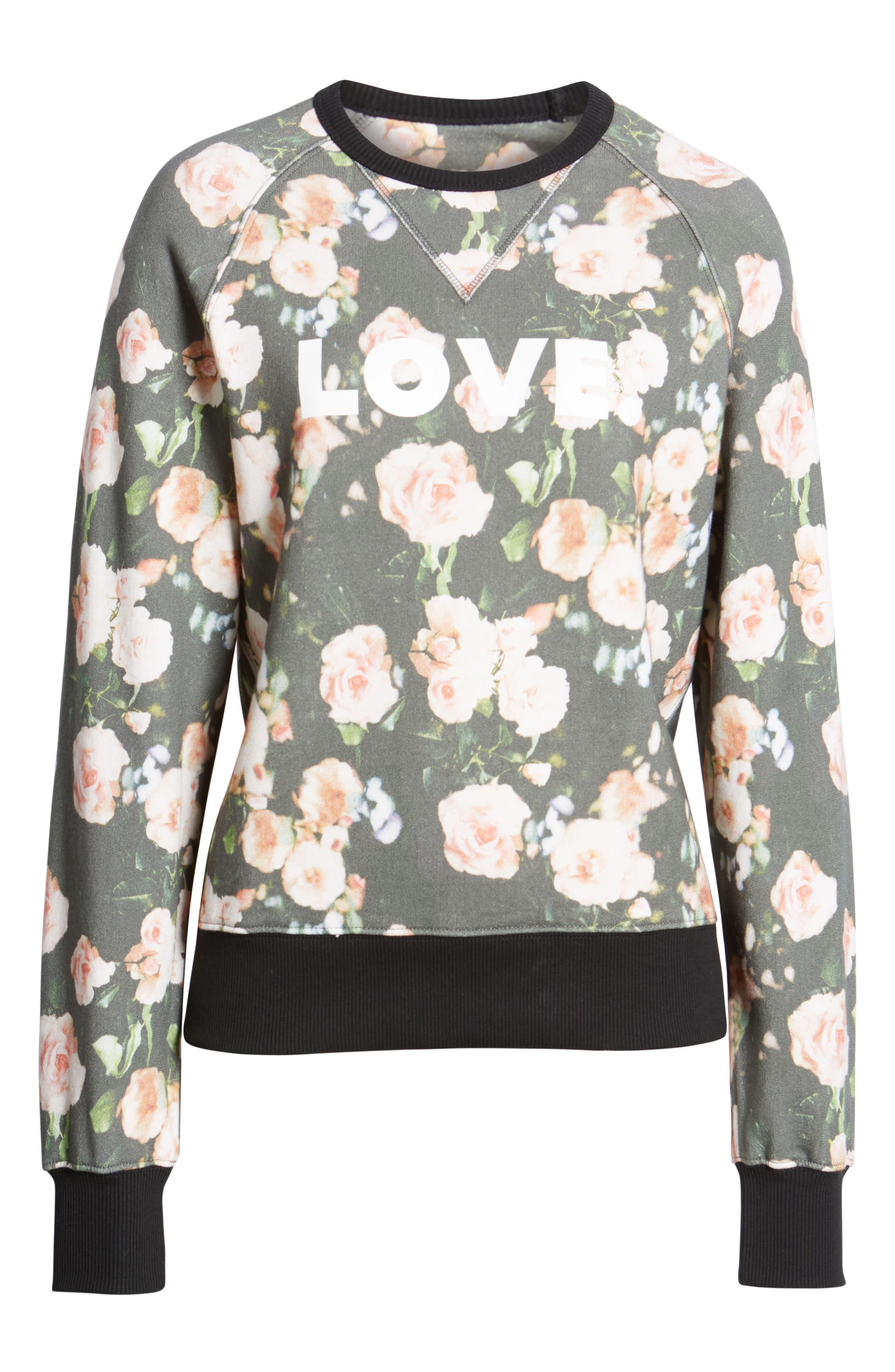 ,                             Love Roses Sweatshirt,                             Alternate thumbnail 6, color,                             BLACK MULTI