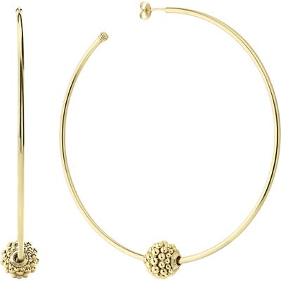 Lagos Caviar Gold Large Hoop Earrings