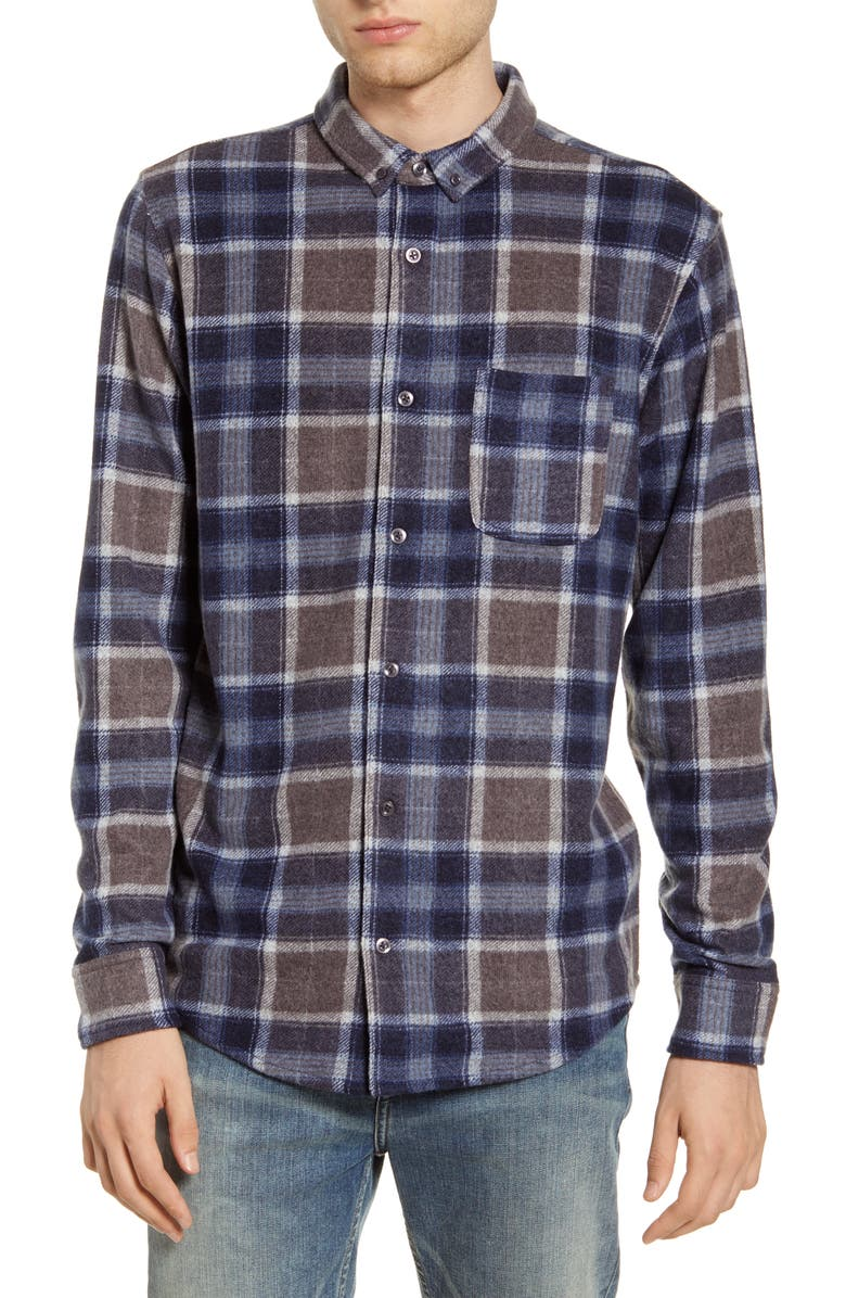 BP. Plaid Button-Down Knit Flannel Shirt, Main, color, GREY -NAVY BILL PLAID