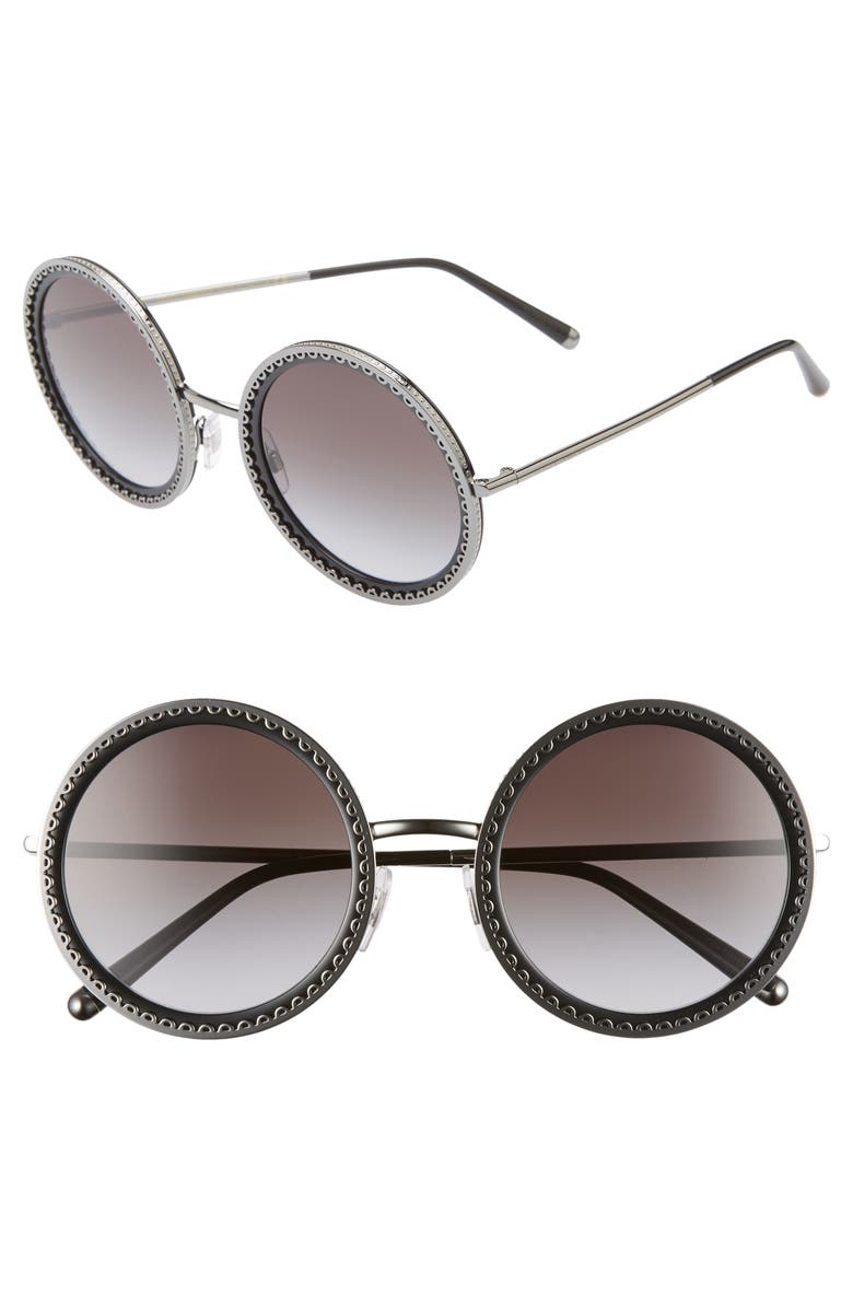 DOLCE&GABBANA Sacred Heart 53mm Gradient Round Sunglasses, Main, color, 040