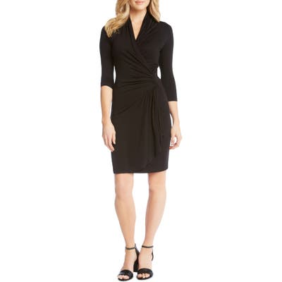 Plus Size Karen Kane Cascade Faux Wrap Dress, Black