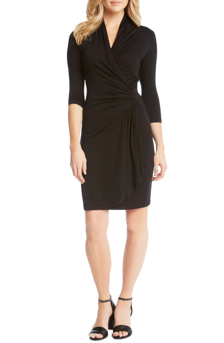 KAREN KANE Cascade Faux Wrap Dress, Main, color, BLACK