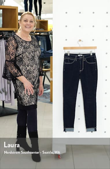 High Waist Cuffed Skinny Jeans, sales video thumbnail