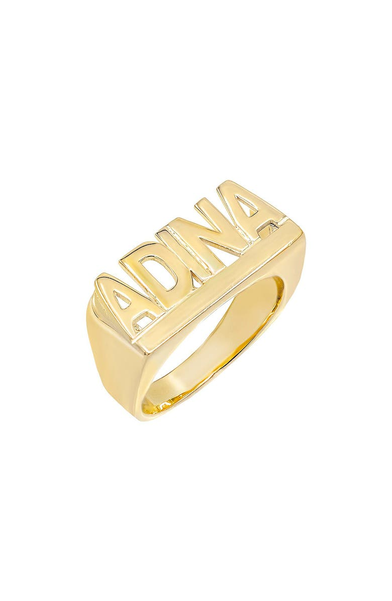 ADINA'S JEWELS Personalized Block Letter Nameplate Ring, Main, color, GOLD