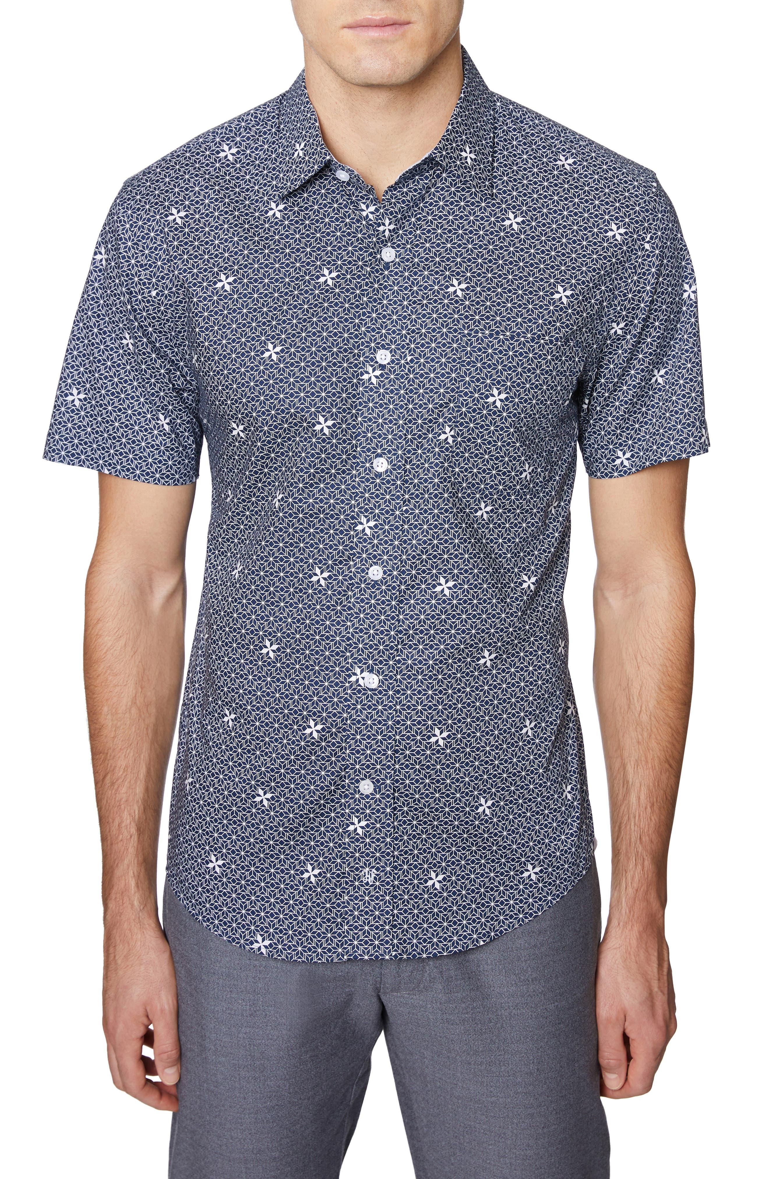 Print Short Sleeve Sport Shirt, Main, color, NAVY PRINT