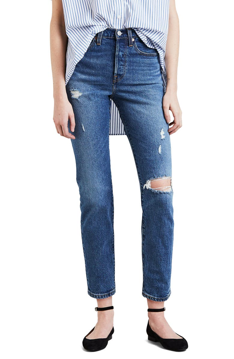 LEVI'S<SUP>®</SUP> Wedgie Icon Fit Ripped High Waist Ankle Jeans, Main, color, 420