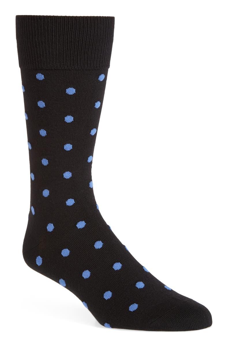 NORDSTROM MEN'S SHOP Ultrasoft Polka Dots Socks, Main, color, BLUE/ BLACK