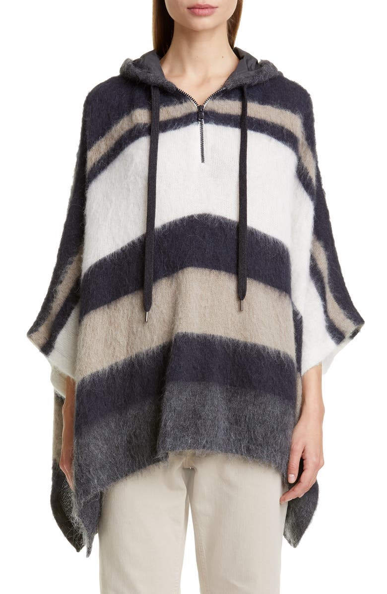 BRUNELLO CUCINELLI Hooded Stripe Poncho Sweater, Main, color, MUSHROOM MIDNIGHT