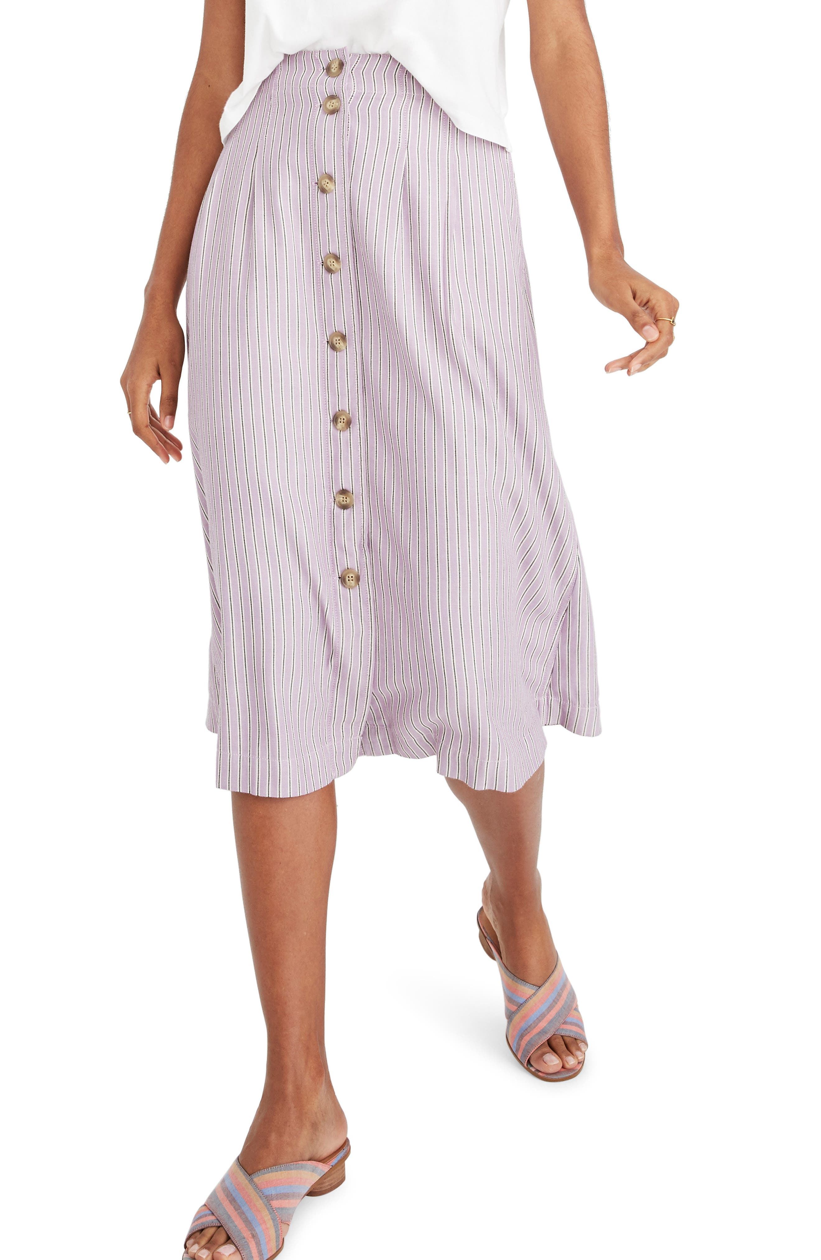 8215577f1f Madewell Patio Lilac Stripe Button Front Midi Skirt, Purple