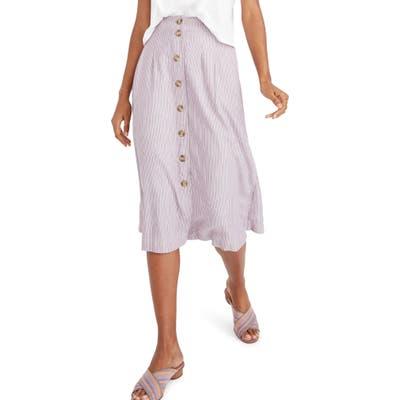Madewell Patio Lilac Stripe Button Front Midi Skirt, Purple