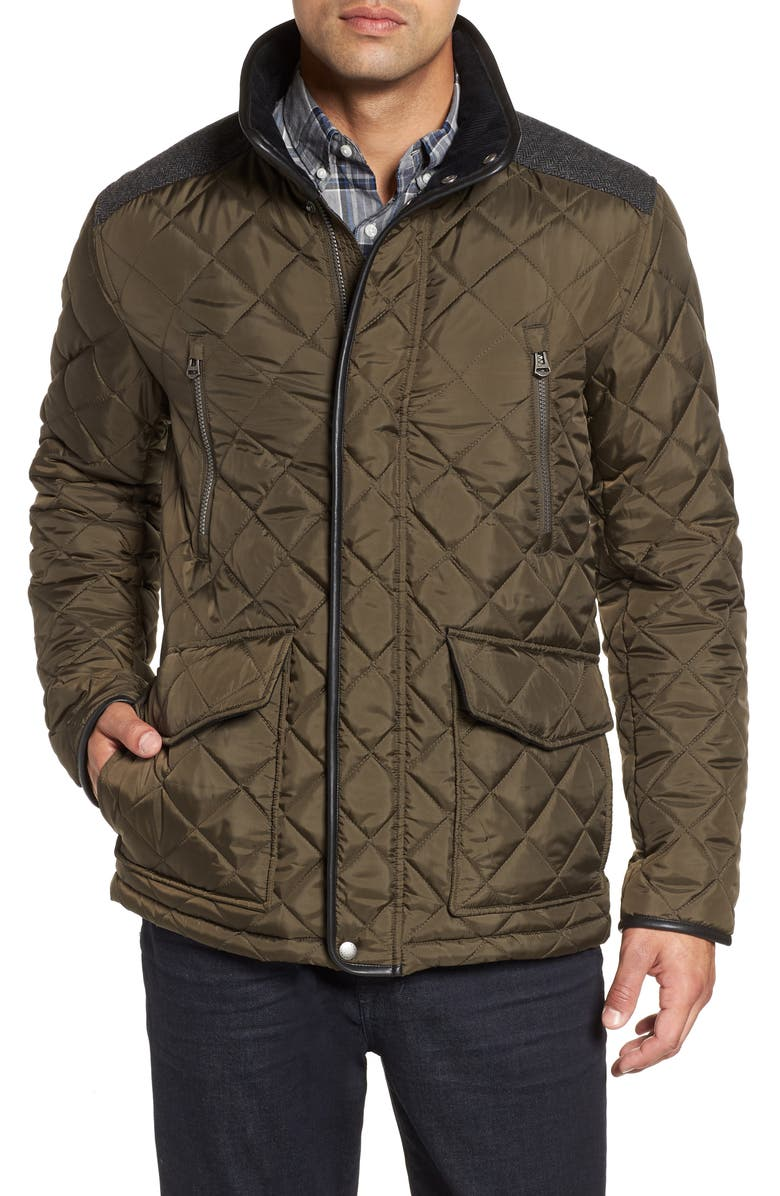 COLE HAAN Herringbone Yoke Quilted Jacket, Main, color, OLIVE