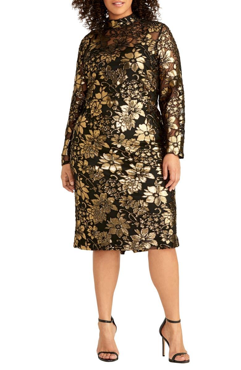 RACHEL RACHEL ROY Metallic Overlay Dress, Main, color, GOLD/BLACK COMBO